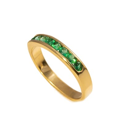 Yellow Gold Emerald  Channel Ring  image