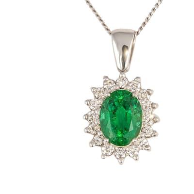 White Gold Emerald & Diamonds Classic Pendant  image