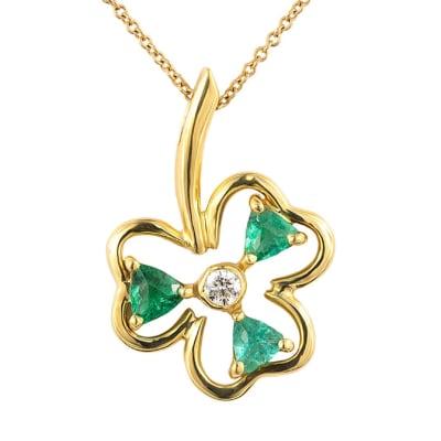 Yellow Gold Emerald  Clover Pendant  image