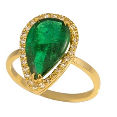 Yellow Gold Emerald  Contemporary Tear Drop Ring image