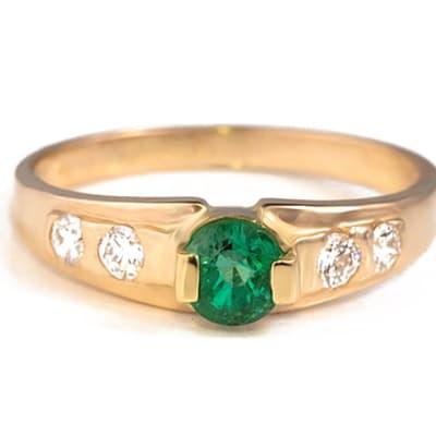 Yellow Gold Emerald & Diamond  Cage Ring - image