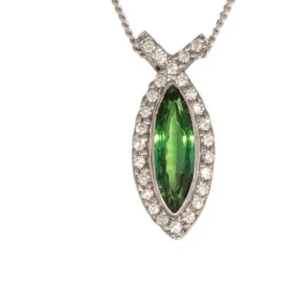 White Gold Emerald & Diamond  Fish Pendant  image