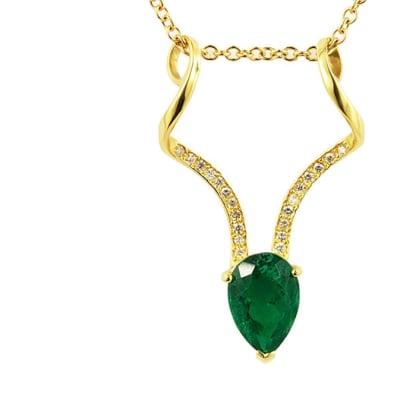 Yellow Gold Emerald & Diamond  Kudu Pendant  image