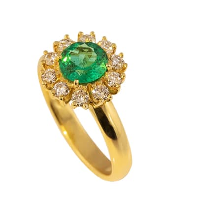 Yellow Gold Emerald & Diamonds  Classic Ring  image