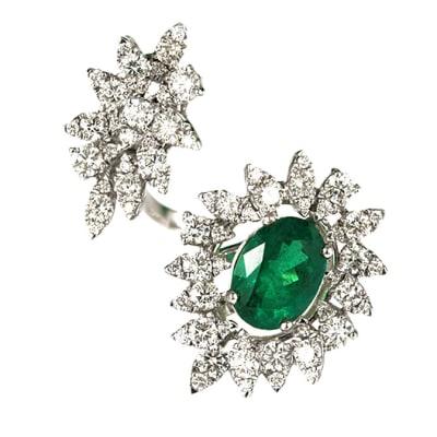 Contemporary  Emerald & Diamonds  Ring image