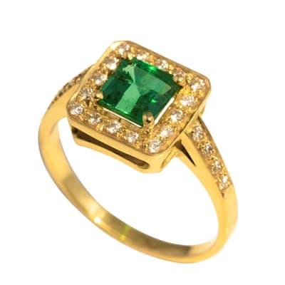 Yellow Gold Emerald & Diamonds  Pave Frame Ring  image