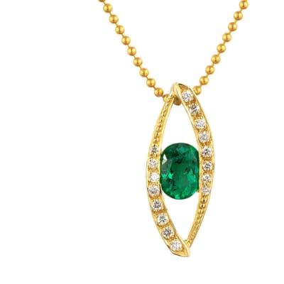 Yellow Gold Emerald & Diamonds  Eye Pendant image