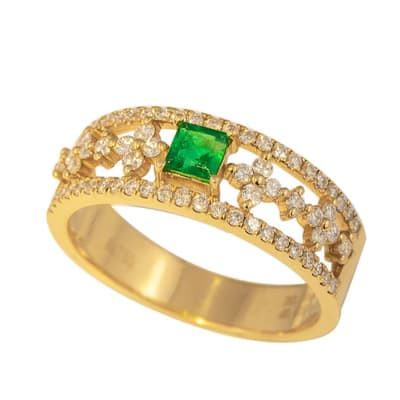 Yellow Gold Emerald  Fancy Ring image