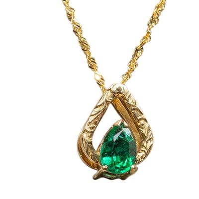 Yellow Gold Emerald  Flame Pendant  image