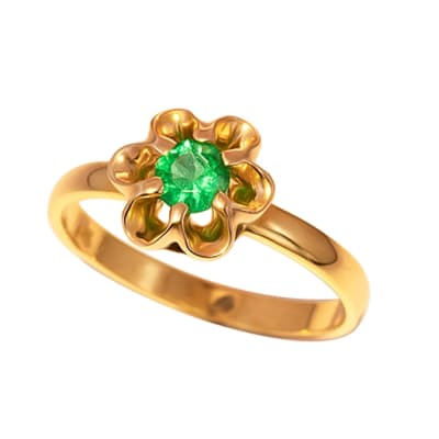 Yellow Gold Emerald  Flower Ring image