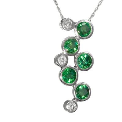 White Gold Emerald  Grape Pendant  image
