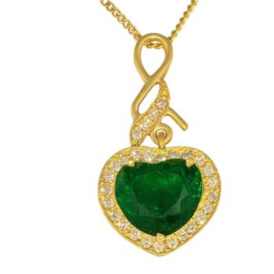 Yellow Gold Emerald & Diamonds Heart Pendant  image