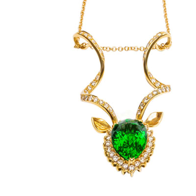 Yellow Gold Emerald  Kudu Heritage Pendant image