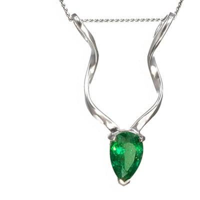 White Gold Emerald  Kudu Pendant - $4,533 image