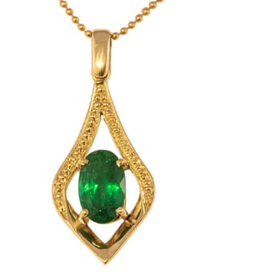 Yellow Gold Emerald  Lamp Pendant with Dots  image
