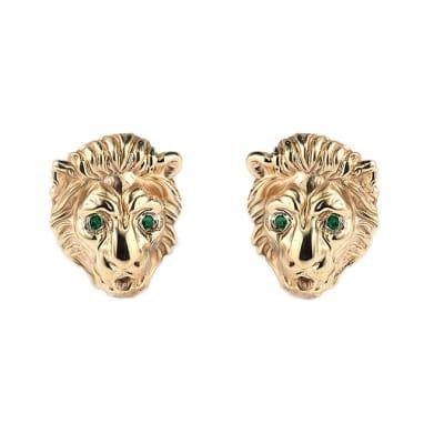 Lion Face  Emerald T-Bar Cufflinks  image