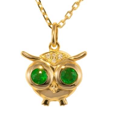 Yellow Gold Emerald  Owl Pendant image