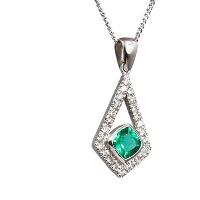 White Gold Emerald  Pave Frame Pendant  image