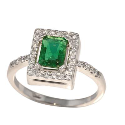White Gold Emerald & Diamonds Pave Ring  image