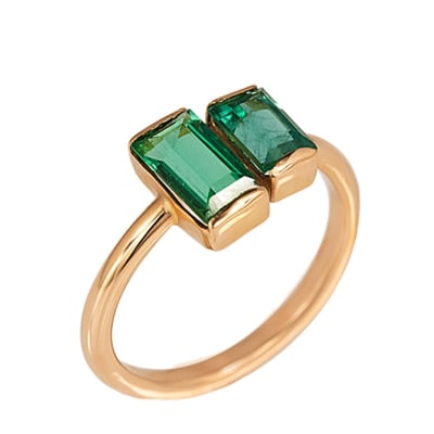 Rose Gold Emerald  Pinky Ring image