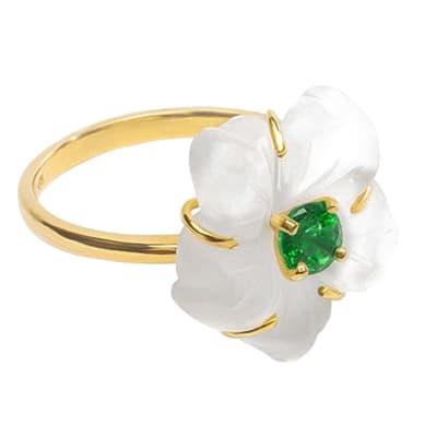 Yellow Gold Emerald & Quartz  Flower Ring image