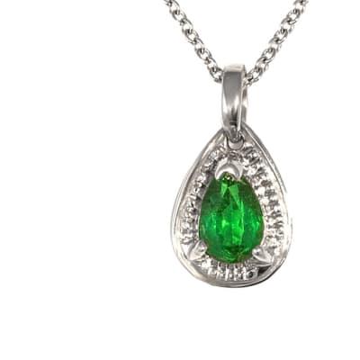 White Gold Emerald  round Bail Pendant  image