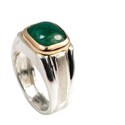 Yellow Gold on Silver Emerald  Signet Ring  image