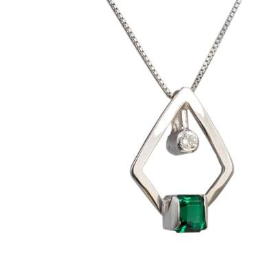 Square  Emerald  White Gold Pendant image