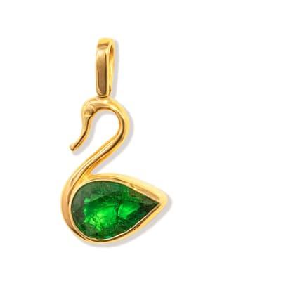 Swan  Emerald  Yellow Gold Pendant image