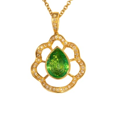 Yellow Gold Emerald & Diamond Bezel Pendant  image
