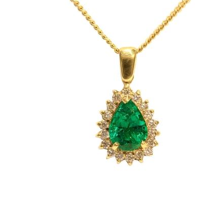 Tear Drop Classic  Emerald Yellow Gold Pendant image