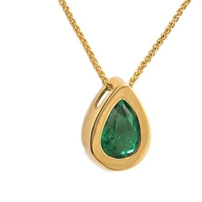 Yellow Gold Emerald  Tear Drop Pendant  image