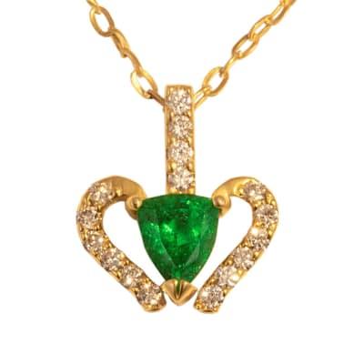 Yellow Gold Emerald  Vase Pendant  image