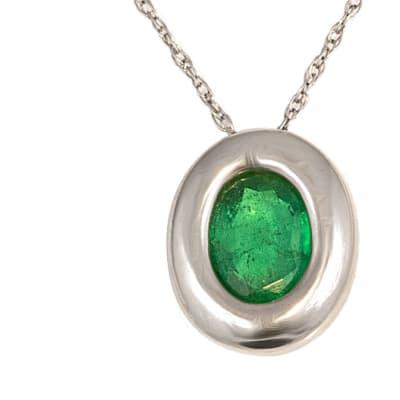White Gold  Emerald  Oval Pendant image