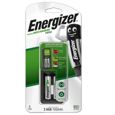 Energizer Charger: Mini Charger ( with 2 x 700mAh AAA Batteries) image