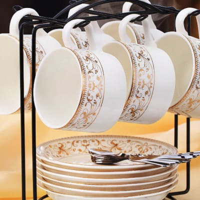 European coffee bone china cup set spoon and plate rack - 10466658719 A image