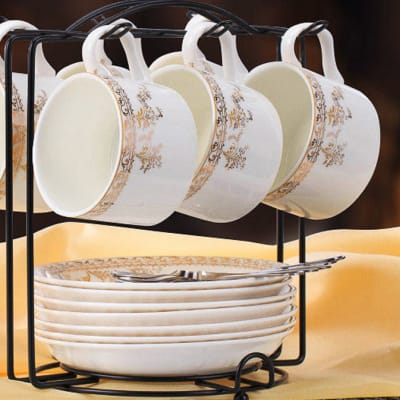 European coffee bone china cup set spoon and plate rack - 10466658719 B image