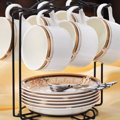 European coffee bone china cup set spoon and plate rack - 10466658719 C image