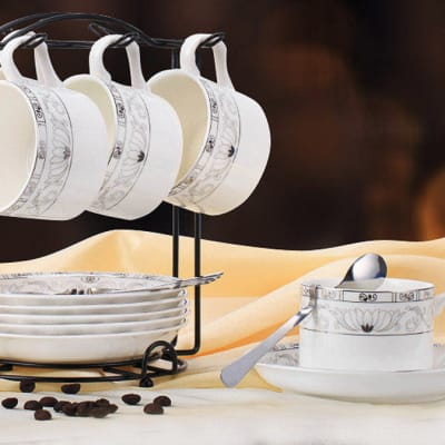 European coffee bone china cup set spoon and plate rack - 10466658719 D image