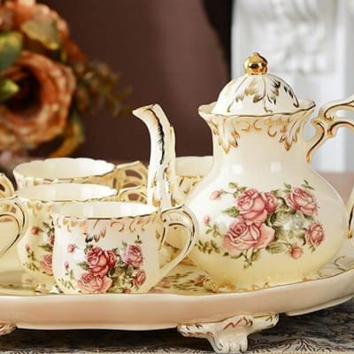 European coffee cup pot tea cup with a complete set of 8 -  A086  image
