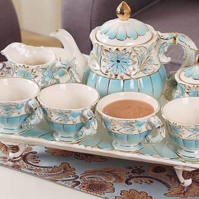European tea set with ceramic tray - 27218344709 image