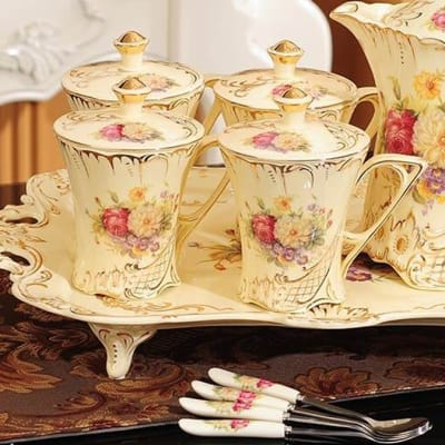 European water cup with tea cup set ceramic -  28918432575 image