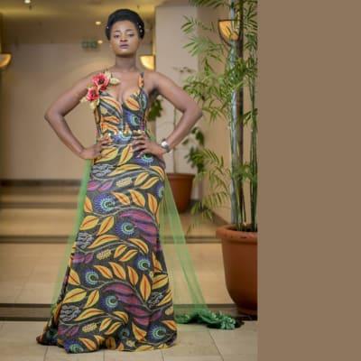 Chitenge maxi dress with shoulder straps image