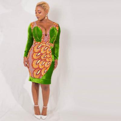 Sheath dress overlayed with chitenge image