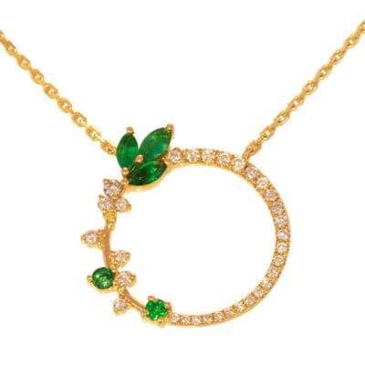 Yellow Gold  Emerald & Diamond  Feather Pendant  image