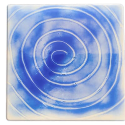 Flat Square Glass Spiral Cake Plate image