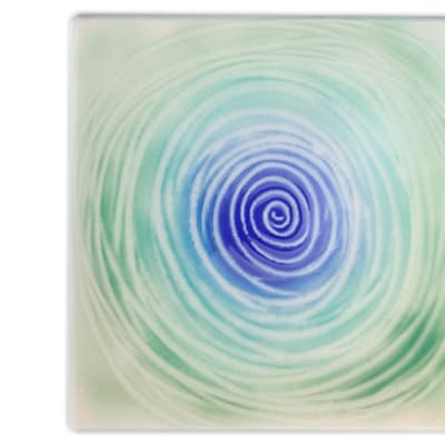 Flat Square Spiral Blue Green Glass Cake Plate  image