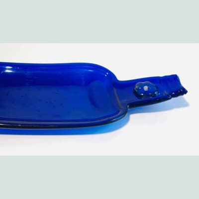 Flatted blue wine bottle cheese tray image