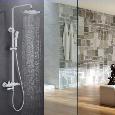 Bathroom shower - Full bathroom hot and cold white shower - 0003 image