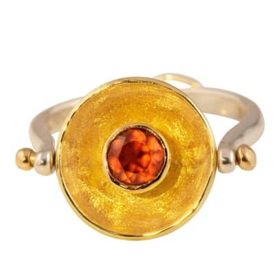 Yellow Gold Garnet  Calabash Ring Pendant  image